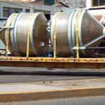 Traslado tanques de fibra de vidrio fondo conico